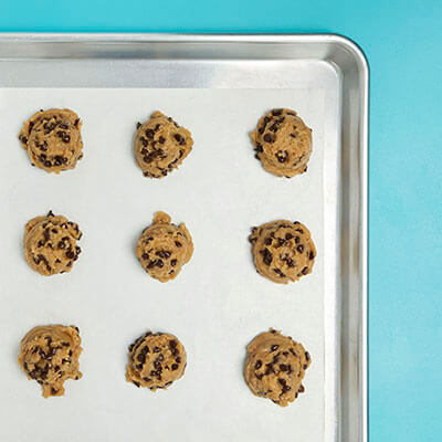 Step 3 Cookie dough scooped out on cookie sheet